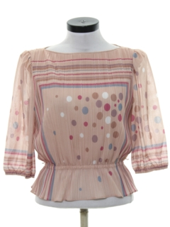1970's Womens Mod Print Disco Inspired Shirt