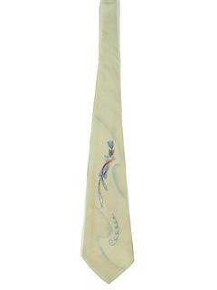 1950's Mens Hand Painted Wide Swing Necktie