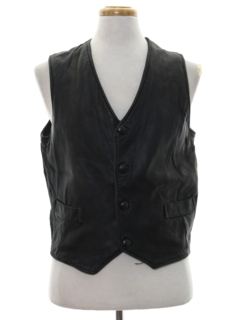 1980's Mens Leather Motorcycle Vest