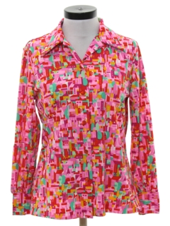 1970's Womens Print Disco Shirt