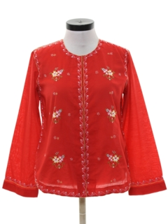 1980's Womens Embroidered Ethnic Hippie Style Shirt
