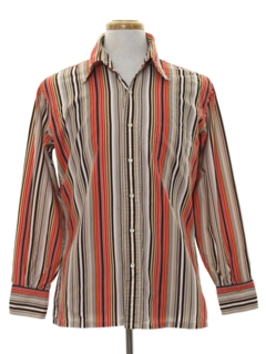 1960's Mens Cotton Blend Print Disco Style Sport Shirt