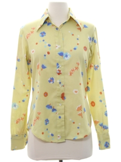 1970's Womens Cotton Blend Print Disco Style Shirt