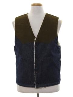 1980's Mens Western Style Denim Vest