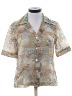 1970's Womens Cotton Blend Print Disco Style Sport Shirt