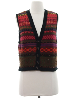 1990's Womens Hippie Sweater Vest