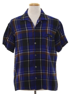 1960's Mens Flannel Mod Sport Shirt