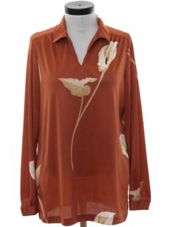 1980's Womens Print Disco Style Shirt