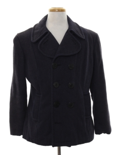 1980's Mens Wool Pea Coat Jacket
