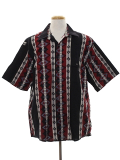 1990's Mens Wicked 90s Geometric Print Western Shirt