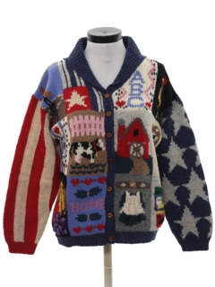 1980's Womens Totally 80s Cheesy Kitschy Ugly Cardigan Sweater