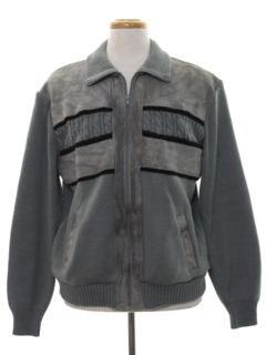 1980's Mens Leather Sweater Jacket