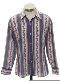 1970's Mens/Boys Cotton Blend Print Disco Style Shirt