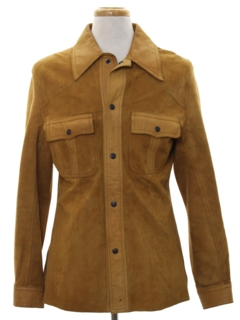 1970's Mens Suede Leather Shirt Jacket