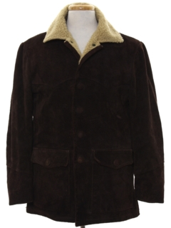 1960's Mens Western Style Suede Leather Car Coat Jacket