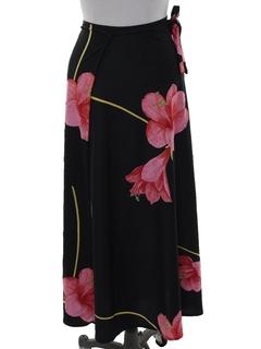 1980's Womens Maxi Hawaiian Style Wrap Skirt