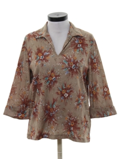 1970's Womens Resort Wear Style Print Disco Shirt