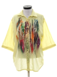 1980's Womens Totally 80s Hand Painted Shirt