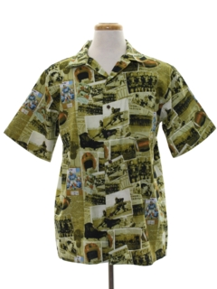 1990's Mens Photo Print Sport Shirt
