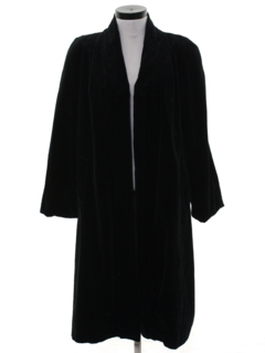 1980's Womens Totally 80s Long Velvet Coat Jacket