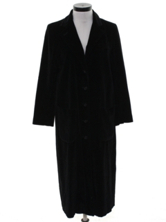 1980's Womens Long Velvet Coat Jacket