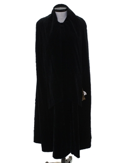 1980's Womens Totally 80s Long Velvet Cloak Jacket
