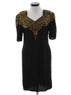 1980's Womens Beaded and Sequined Cocktail Dress