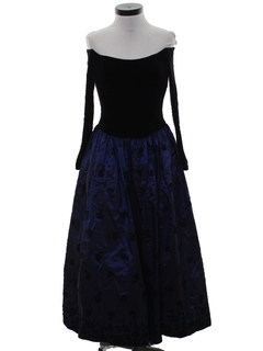 1980's Womens Totally 80s Maxi Prom Or Cocktail Dress