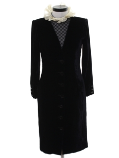 1980's Womens Designer Velvet Wiggle Cocktail Dress