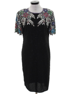 1980's Womens Totally 80s Beaded and Sequined Cocktail Dress