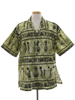 1990's Mens Ethnic African Hippie Style Shirt