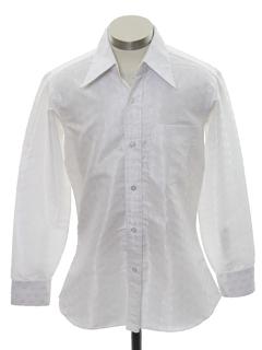 1970's Mens Subtle Print Cotton Blend Disco Shirt