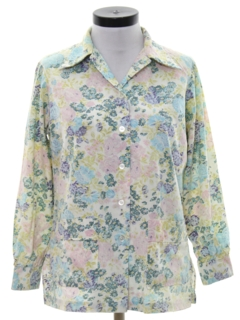 1970's Womens Cotton Blend Disco Style Shirt