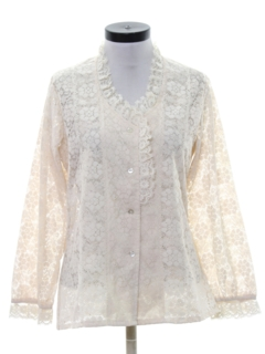 1970's Womens Ruffled Front Lace Shirt