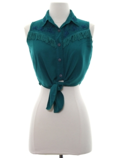 1980's Womens Totally 80s Cropped Western Style Shirt