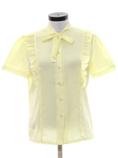 1980's Womens Totally 80s Ruffled Front Secretary Shirt