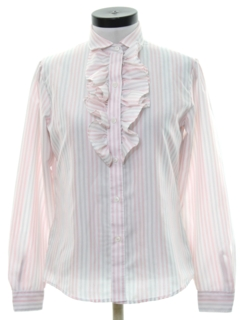 1980's Womens Totally 80sRuffled Front Secretary Shirt