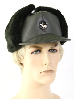 1970's Mens Accessories - Faux Leather Winter Hat