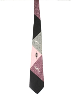 1950's Mens Abstract Rockabilly Geometric Necktie
