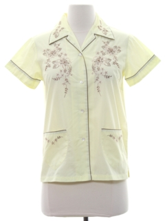 1980's Womens Embroidered Asian Style Hippie Shirt