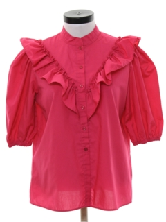 1980's Womens Ruffled Front Totally 80s Secretary Shirt