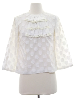 1960's Womens Mod Ruffled Front Shirt