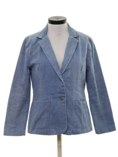 1970's Womens Denim Blazer Sport Coat Jacket