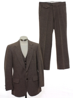 1970's Mens Matching 3 Piece Wool Suit