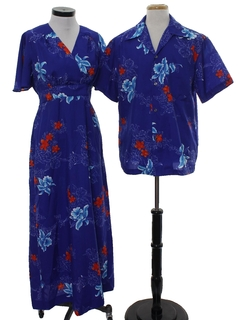 1970's Unisex Matching Hawaiian Maxi Dress And Hawaiian Shirt