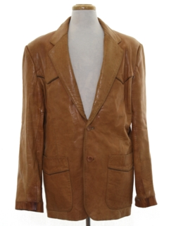 1970's Mens Leather Blazer Sportcoat Jacket