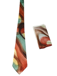 1940's Mens wide Swing Abstract Necktie/Hankerchief