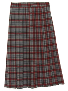 1980's Womens Totally 80s Pleated Wool Skirt