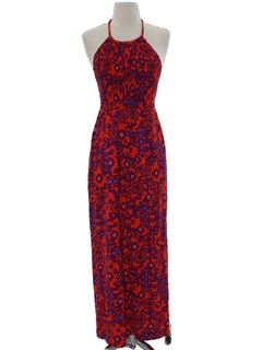 1960's Womens Mod Maxi Hippie Halter Dress