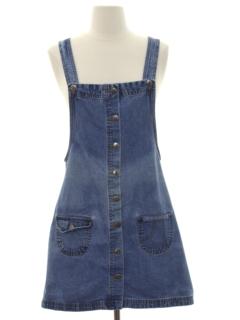 1980's Womens Denim Mini Hippie Dress
